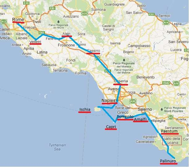 Map Of Central Italy Cities.Italy 2012 Rome Naples South